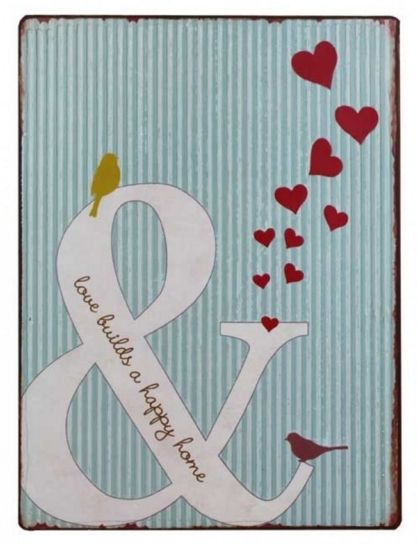 "These vertically - hanging signs consist of a blue and white vertical striped background, a large white ampersand, and a slew of red hearts - 36cm. On the ampersand you'll find a little yellow bird sitting at the top and a red bird sitting at the bottom, as well as the words, ""Love builds a happy home,"" written in elegant script. The artwork is worn around the edges to give it a weathered look. These signs are perfect to hang in your own home, as well as to give as gives, especially to…"