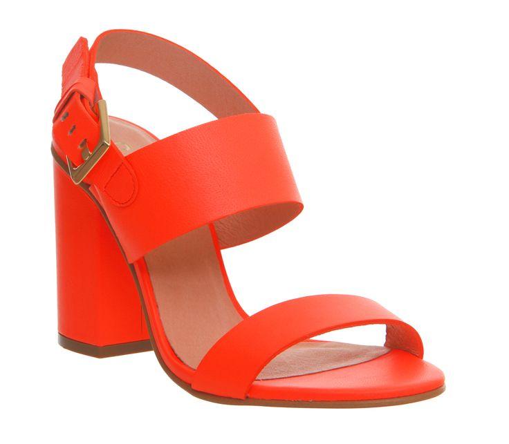Office Garland Strappy Block Heel Fluro Coral Leather - High Heels