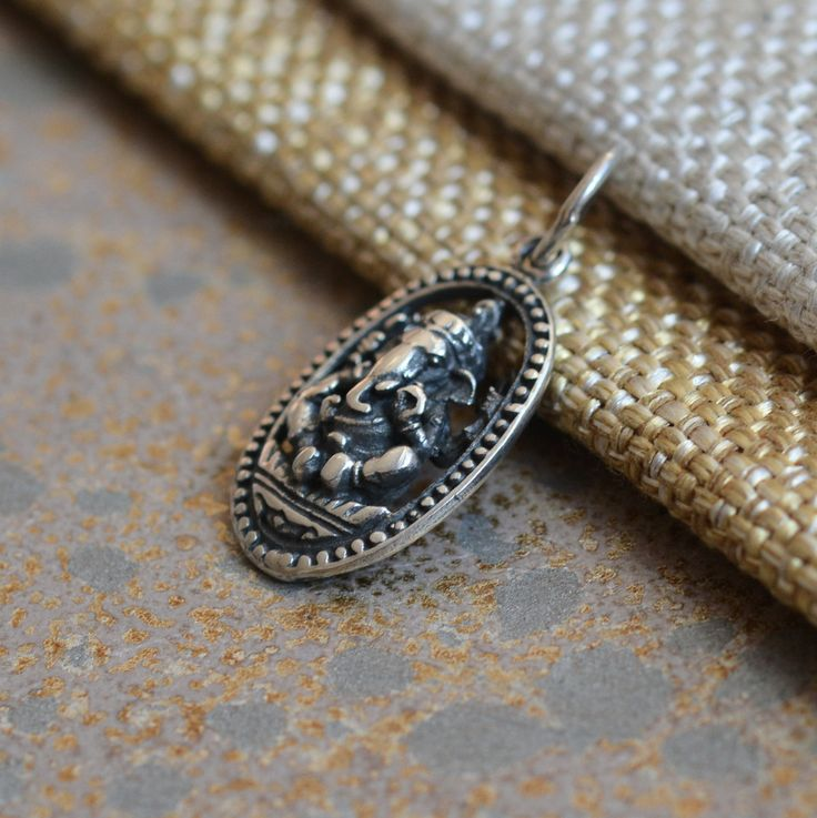Sterling Silver Oval Ganesh Charm,Ganesh Pendant,Lord Ganesh,Elephant God,Hindu,Yoga Charms,Inspirational Charms,Jewelry Supplies,BS17-0126S by WanderlustWorldArts on Etsy