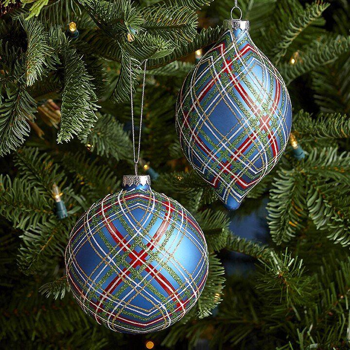 Blue and Green Glass Christmas Tree Christmas Ornament
