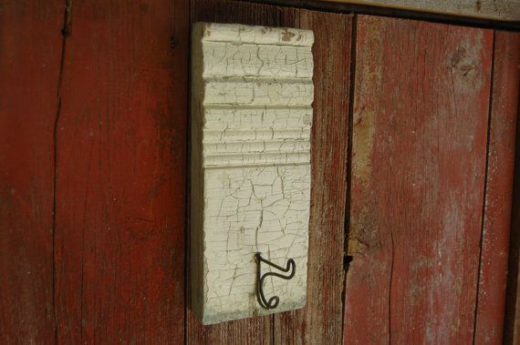 baseboard trim coat hook shabby chic home decor towel hook on Etsy, $15.00