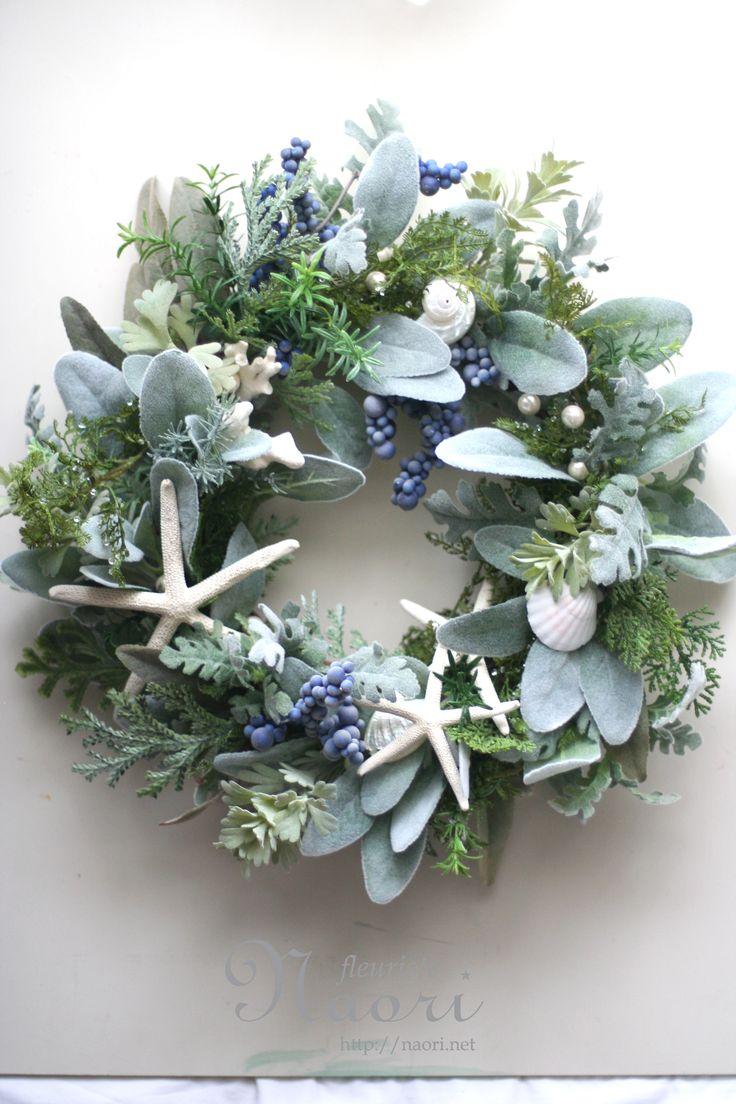 珊瑚と貝殻のリース 波の泡と真珠 Wreath of sea Coral and shells seaweed / pearl /wedding