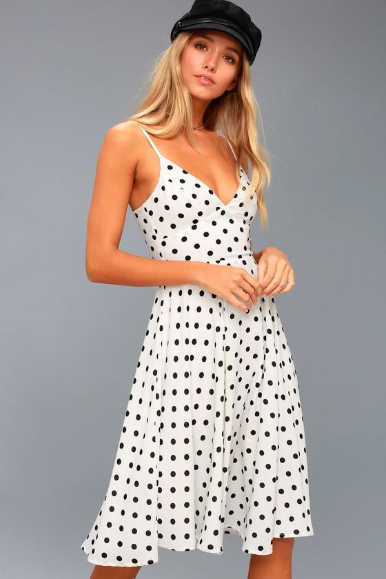 b8a8ea39e4 Find a sunny spot on the grass and have a picnic in the Favorite Spot White  Polka Dot Midi Dress! Lightweight woven fabric