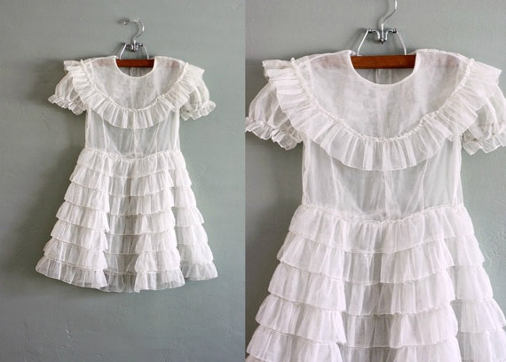 50s Little Tiered Organza Party DRESS by flourclothing on Etsy #vintage #neutral