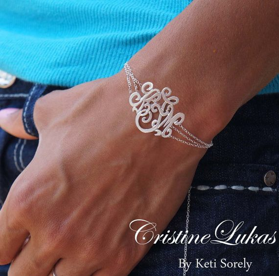 Designer Monogram Bracelet - Initials Bracelet with Triple Chain - Order Your Name Initials - Sterling Silver