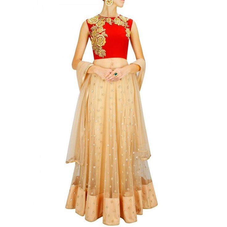 Buy Red - Beige Lehenga Choli - Ethnic Suit Online Shopping at Peachmode