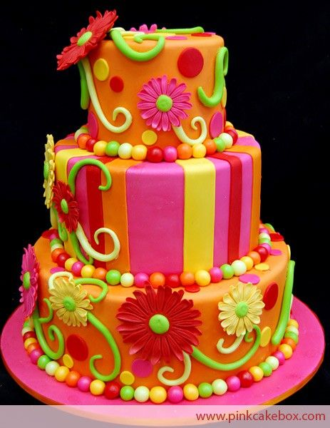 bright whimsical fun decorated cake http://ediblecraftsonline.com/ebook2/mybooks73.htm?hop=megairmone
