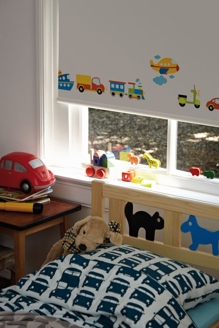 Lovely playful, Luxaflex® Roller shade design for a child's room. Lighter mornings can affect your children sleep pattern with unwanted early wake-up calls. Equally lighter nights can make children or babies restless. Luxflex® Blinds with room darkening fabrics are the perfect choice. #Luxaflex #RollerBlinds #ChildrensRoom #ChildSafety