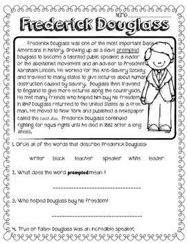 Frederick Douglass FREEBIE! Reading passage w/Comprehension Questions
