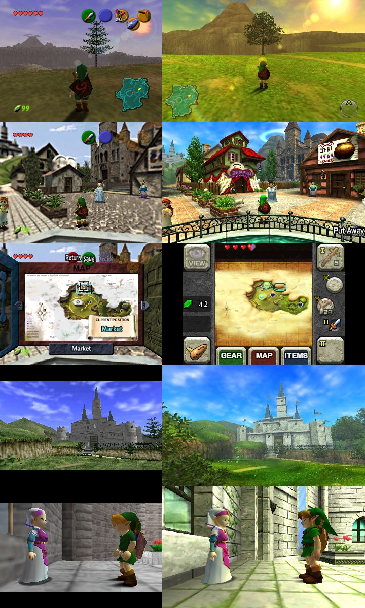 A side-by-side comparison of the original The Legend of Zelda Ocarina of Time next to Ocarina of Time 3D for 3DS