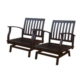 Allen Roth Set Of 2 Gatewood Brown Aluminum Slat Patio Spring Motion Chairs