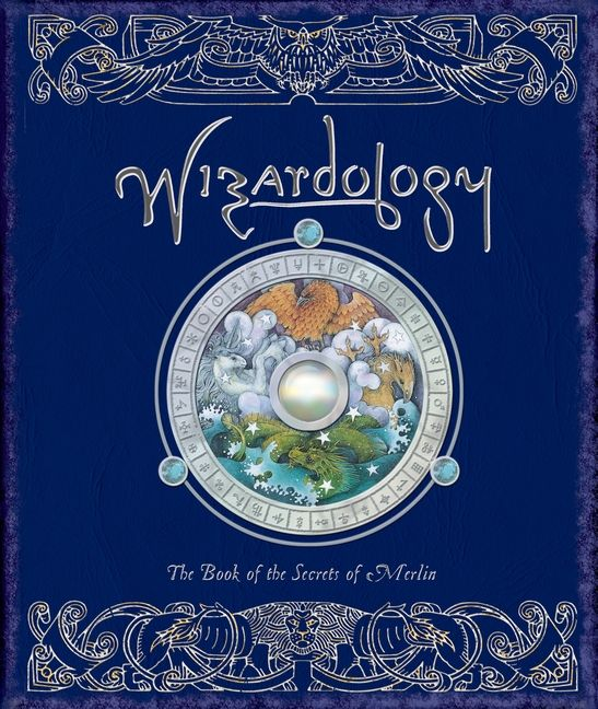 "Wizardology: The Book of the Secrets of Merlin #ologies #wizards - glittering crystal ball-like jewel on the front cover - world map showing locations of wizards around the globe - tactile samples of a ""fairy flag"" with one wish remaining & a phoenix feather to aid in flying charms - booklets explaining proper use of spells, familiars, & potions - removable dragon pendant allowing the user to dowse for mythical beasts - pack of 8 removable fortune-tellling cards - 48-page mini book of…"