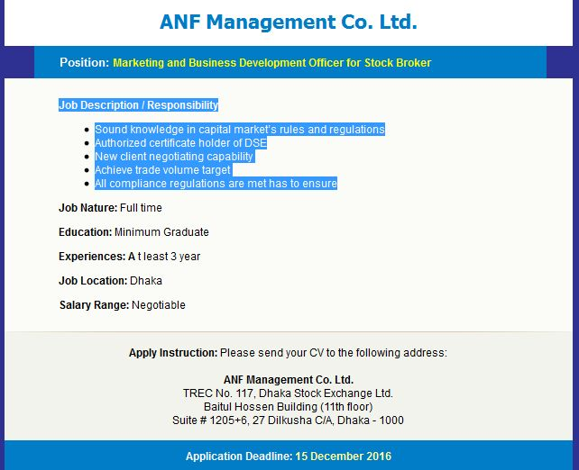 ANF Management Co Ltd Job Circular Job Circular Pinterest - stock broker job description