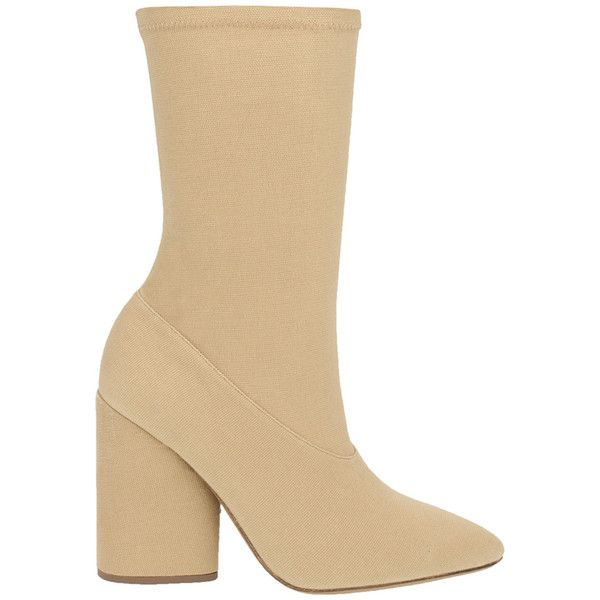 YEEZY Nude Neutrals Dollar Canvas Ankle Boot ($595) ❤ liked on Polyvore featuring shoes, boots, ankle booties, nude neutrals, almond toe boots, short boots, canvas boots, canvas booties and nude ankle boots