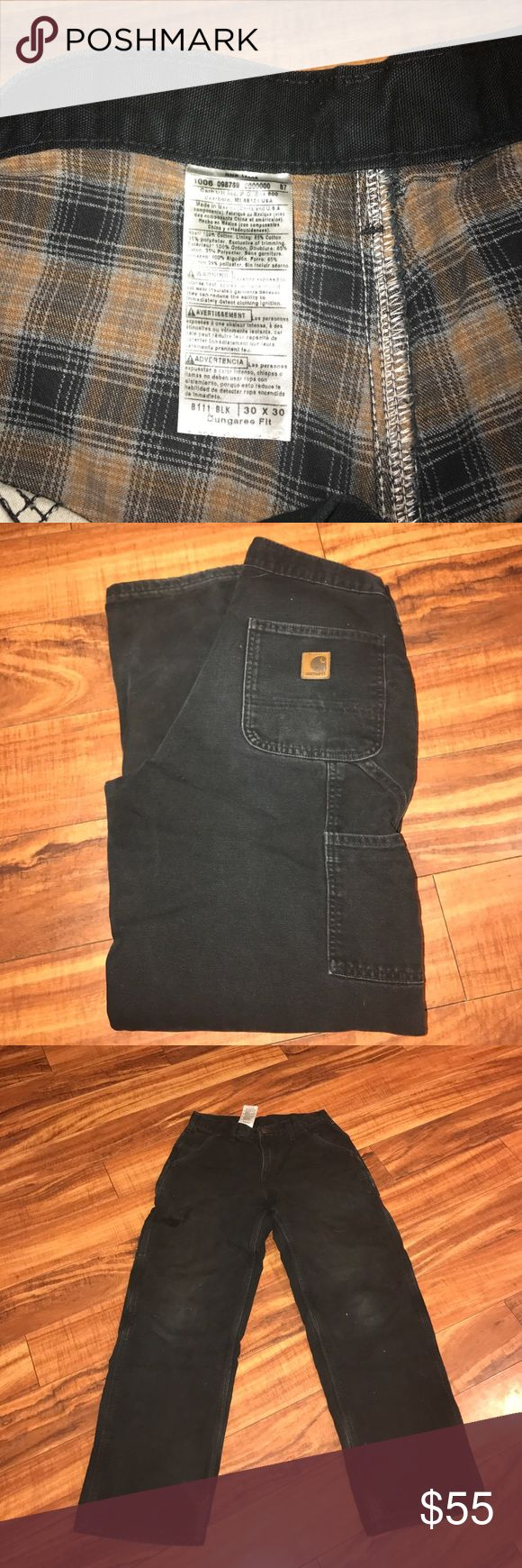 Men's carhartt pants Men's Carhart jeans worn but still in very good condition little wear shown on both the knees and the bottom of the legs most shown in pictures. Flannel lined all the way through. 30x30 Carhartt Pants