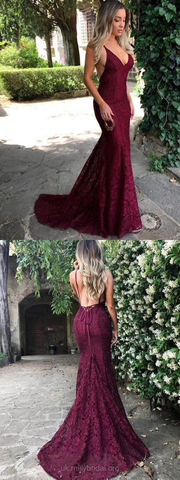 Burgundy Prom Dresses,Long Prom Dresses,Lace Prom Dresses,V-neck Prom Dresses,Trumpet/Mermaid Prom Dresses,Modest Prom Dresses 2018 #partydress