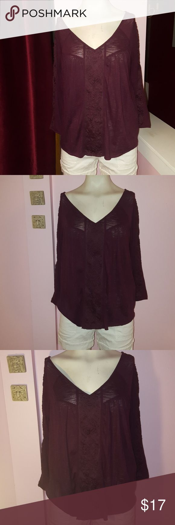 American eagle outfits purple boho top This boho top as a size medium has lace down the front and on the sides looks very cute on perfect for spring and summer Brand American Eagle American Eagle Outfitters Tops Tees - Long Sleeve