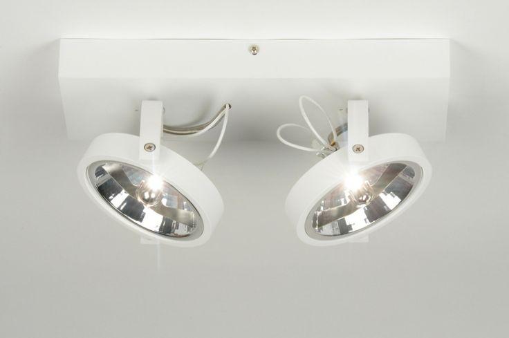 plafondlamp 71561: modern, design, aluminium, wit rietveld 89