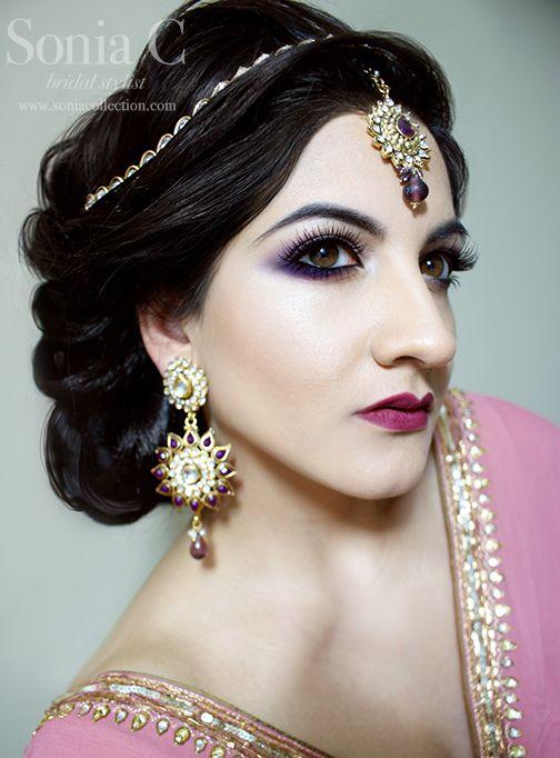 Pakistani bridal makeup, Indian bridal makeup, smokey eyes, purple, berry lips, #soniacmakeup #indianbride #bridalmakeup #bridalhair #updo