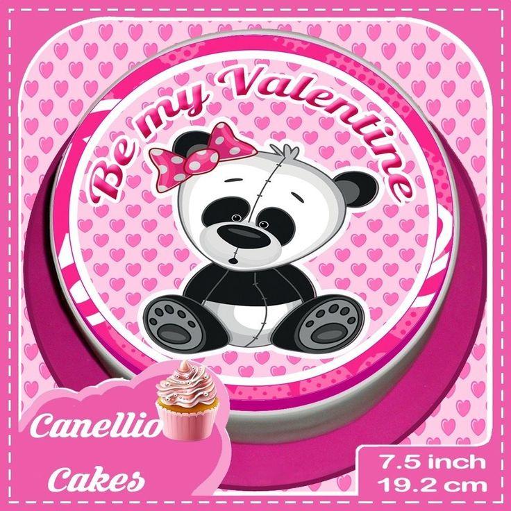 VALENTINES DAY PANDA 7.5 INCH PINK ROUND CAKE TOPPER  CCV003L