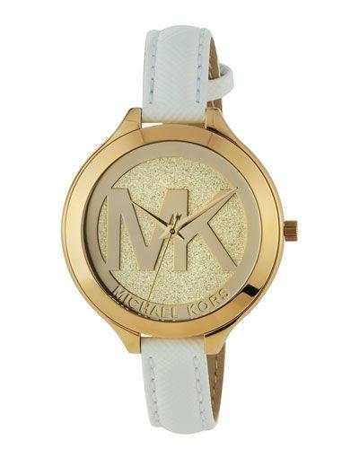 Y2XNJ Michael Kors Golden Leather-Strap Watch, White