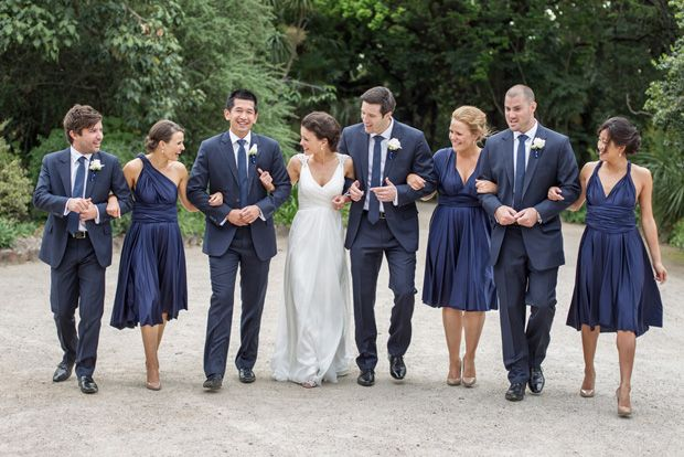I like the groomsmen in navy but the bridesmaid need a different color dress