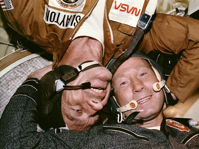 Joint Mission: On July 17, 1975, something momentous happened: two Cold War-rivals met in space during the Apollo-Soyuz Test Project. When their respective spacecraft rendezvous-ed and docked, a new era of cooperative ventures in space began.