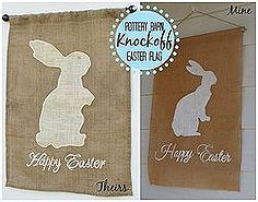 pottery barn knockoff burlap easter flag, crafts, easter decorations, home decor, outdoor living, seasonal holiday decor, Pottery Barn burlap Easter flag knockoff