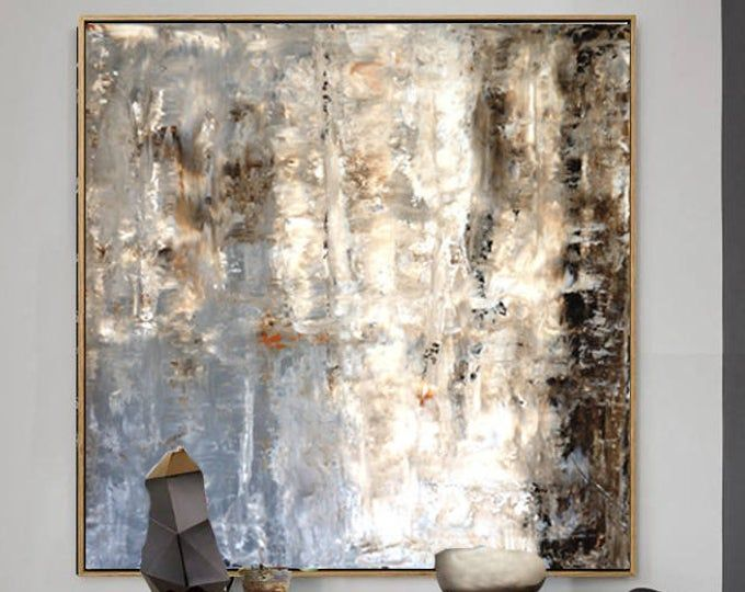 Olive Green And Gold Abstract Painting Contemporary Art Textured Painting On Canvas Wall Decor Extra Large Wall Art Nw0010 Gold Wall Art Textured Wall Art Abstract Wall Painting