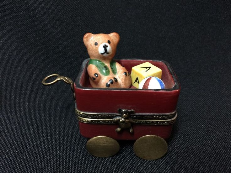 Vintage! Limoges Hand Painted Hinged Red Toy Wagon Trinket Box FS Teddy Bear