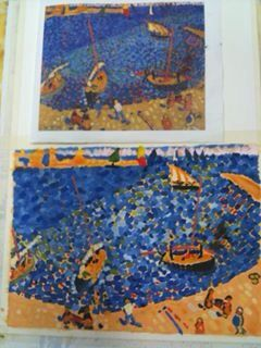 "My copy of Andre Derain's fauvism painting ""The boats at Collioure"" (bottom), & original (top)."