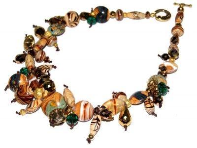 Naszyjnik Toffi: Lampwork i Jablonex #naszyjnik #necklace #jewelry #jewellery #bizuteria