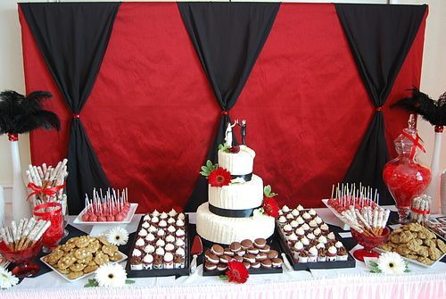 kay I couldnt help it, it's a broadway themed wedding. I dont know if i would do this, but it could be so much fun. might help for bday party ideas though.