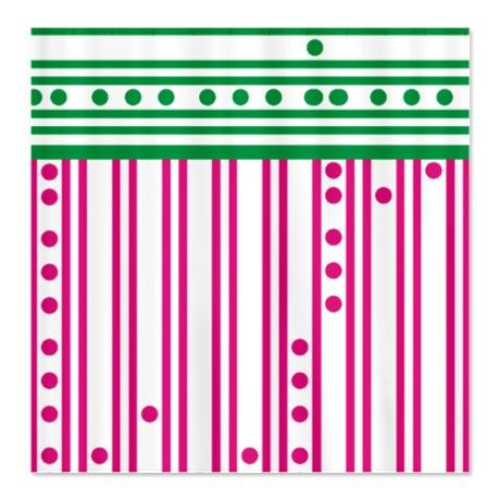 Pink and Green Stripes and Polka Dots Shower Curtain #circusvalley