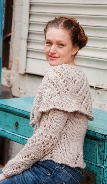 e4841ba787 Lady Lovelace  Knitty Winter 2011 Beautiful chunky cream sweater w  eyelet  details and matching cowl FREE pattern (hva)