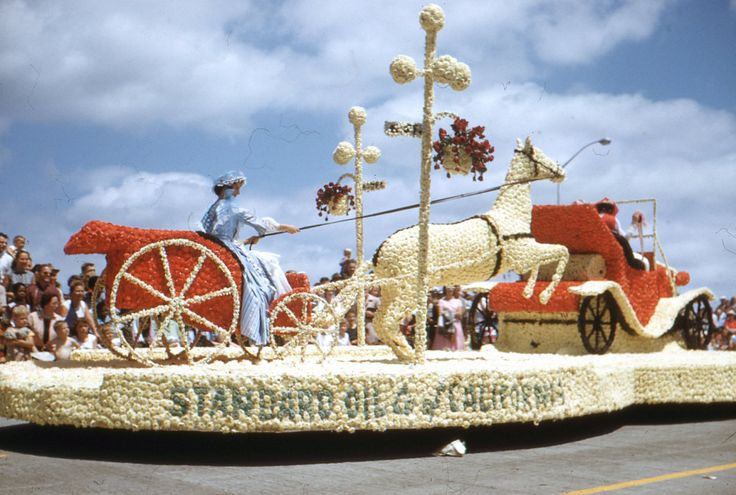 Vintage Kodachrome Transparency..Standard Oil Float Rose Parade, 1950's Original Found Photo, Vernacular Photography by iloveyoumorephotos on Etsy