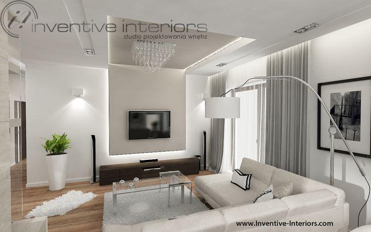 Projekt salonu Inventive Interiors - eleganki i przytulny salon w - Küchen Weiß Hochglanz
