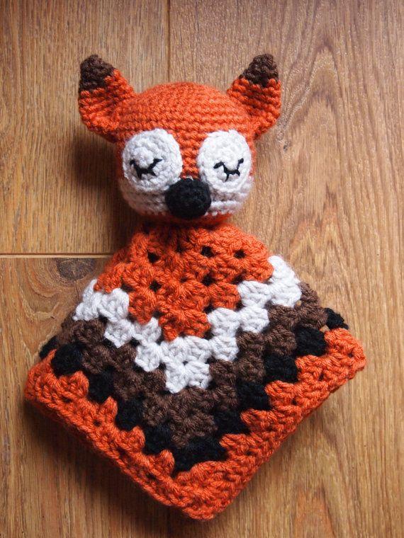 Baby Sleepy Fox Crochet Security Blanket Lovie Doll by ...