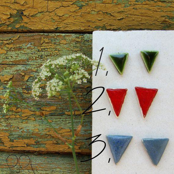 FREE SHIPPING triangle ceramic earings geometric stud by loliti