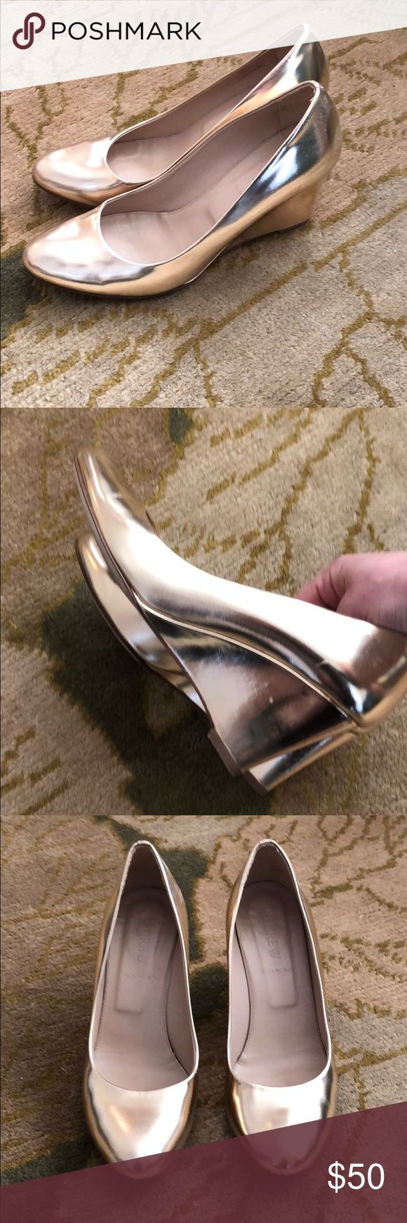 J. Crew gold platform heels Lovely gold platform heels with rounded toe. In great condition, minor wear on soles (shown) J. Crew Shoes Heels