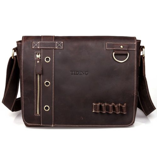 Hermiona Men's Vintage Canvas Leather Schoolbag Military Shoulder Crossbody Messenger Bag nev52t