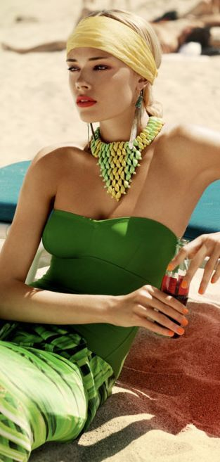 Summer Chic..easy to create this outfit on your own with this color scheme or other colors...