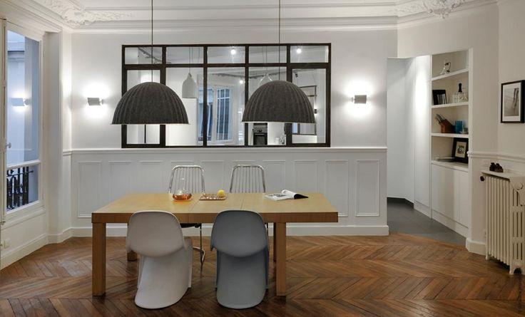 salle manger avec verri re moulures pinterest verri re haussmannien et manger. Black Bedroom Furniture Sets. Home Design Ideas