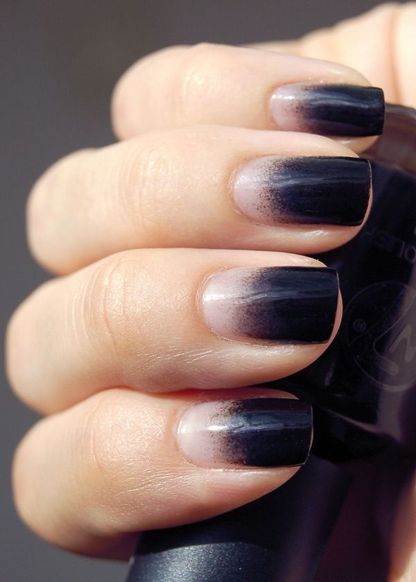 Black and Natural Ombre Nails |