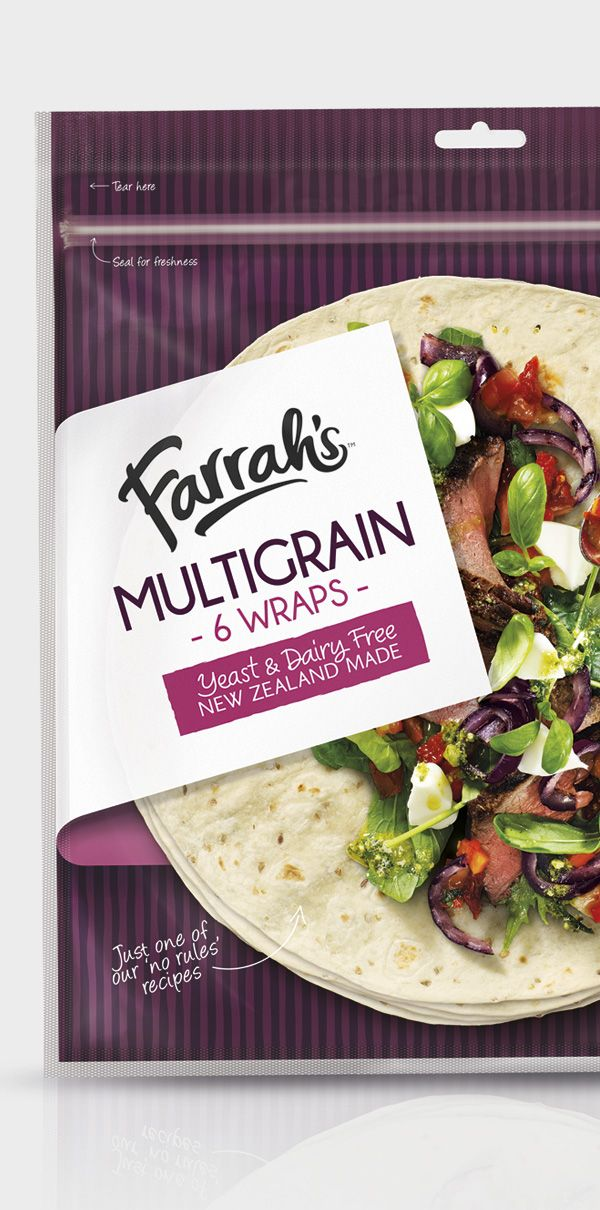Award winning brand and packaging design for Farrah Wraps, FMCG bread company