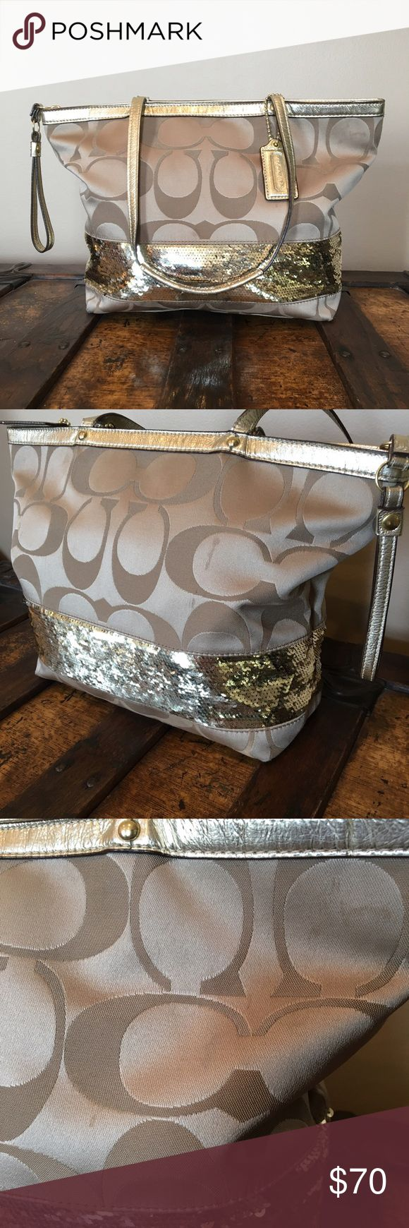 Gold Sequin Coach Bag Gold Sequin Coach Bag. Good condition with a few small marks on the front and back side. Some of the sequins want to turn up, but can be flipped back down. None are missing. Inside of bag is clean! Zip closer. Please ask if you have any questions! Not included in bundle discount. Coach Bags Shoulder Bags