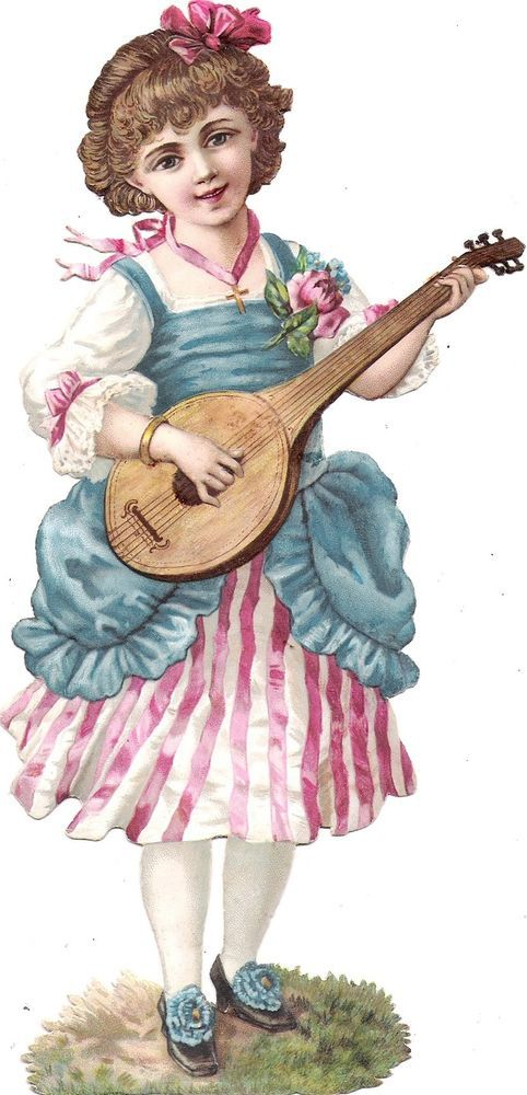 Oblaten Glanzbild scrap die cut chromo Kind child girl  XL 21,7 cm  Musik music