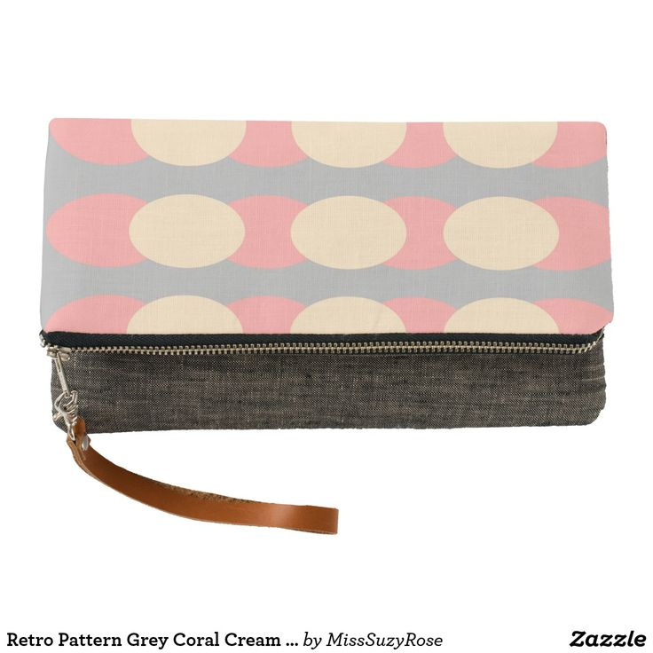 Retro Pattern Grey Coral Cream Clutch Bag,retro pattern,spotty design bags,vintage style bags,'trendy clutch bag,grey clutch bag,womens gifts,stocking stuffers,fold over clutch bag,party clutch bag,occasion bags