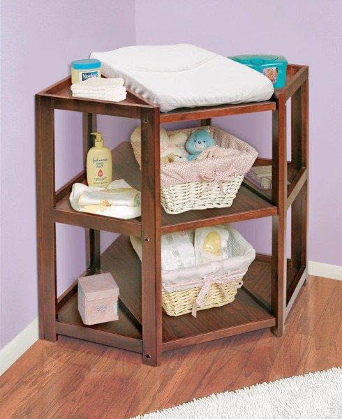 Cherry Diaper Corner Changing Table can be used as a storage/book shelf or TV/Media center when your child outgrows the changing table.