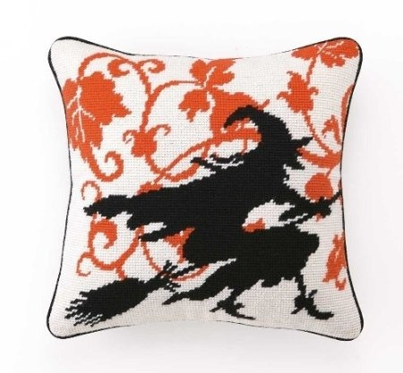 amazoncom halloween vintage style flying witch silhouette pillow wool needlepoint - Halloween Pillows